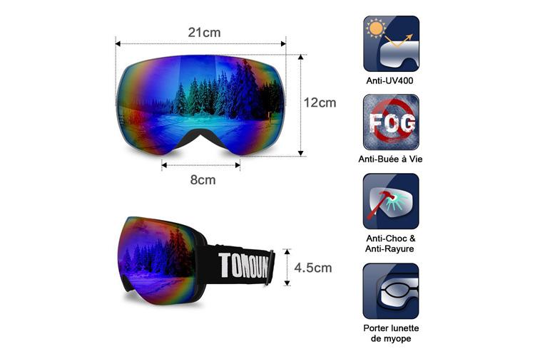 Tomount Anti-UV400 masque de ski - Test complet et avis de la rédaction 2ef3afc5dde1